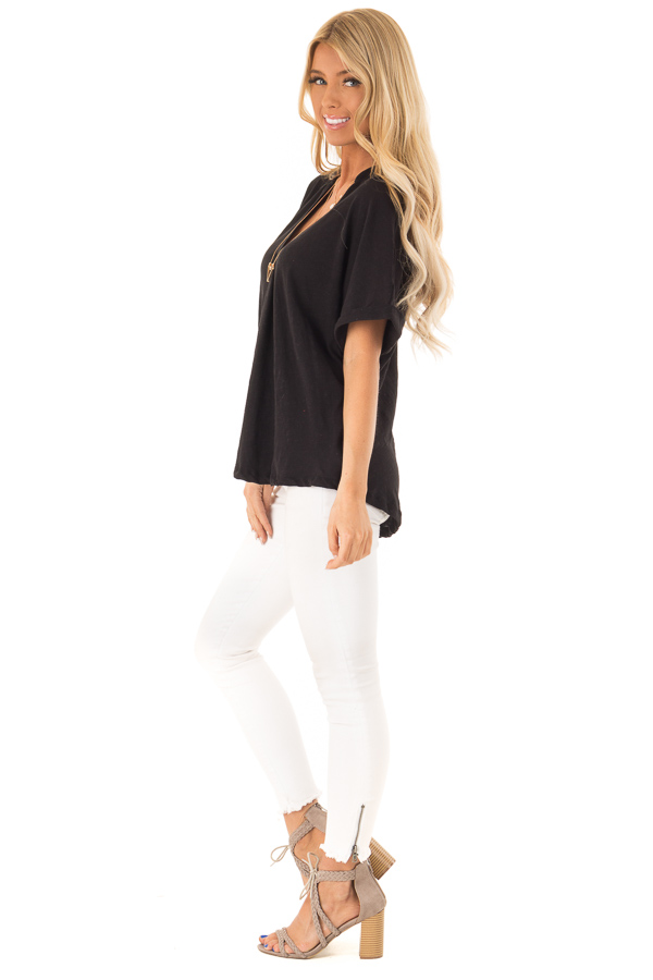 Black Dolman Style V Neck Top with Short Cuffed Sleeves side full body