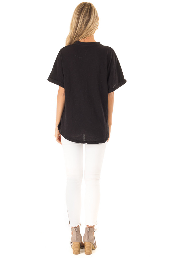 Black Dolman Style V Neck Top with Short Cuffed Sleeves back full body