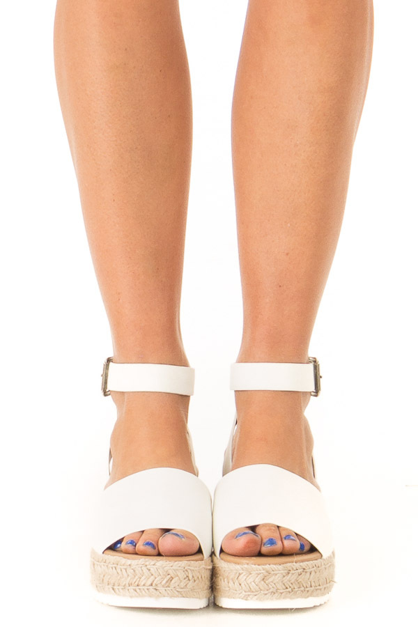 Ivory Espadrille Platform Sandals with Ankle Strap front view