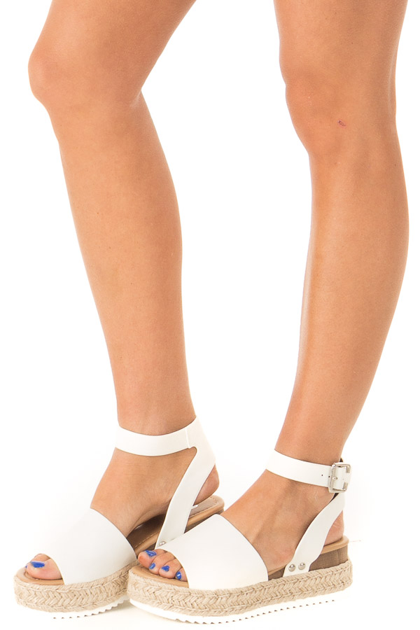Ivory Espadrille Platform Sandals with Ankle Strap side view