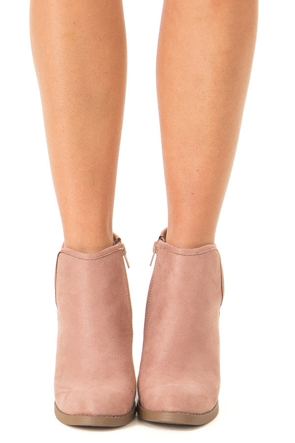 Dusty Blush Faux Suede Heeled Bootie with Zipper front view