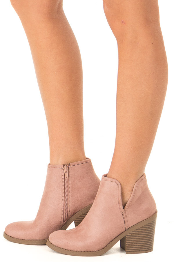 Dusty Blush Faux Suede Heeled Bootie with Zipper side view