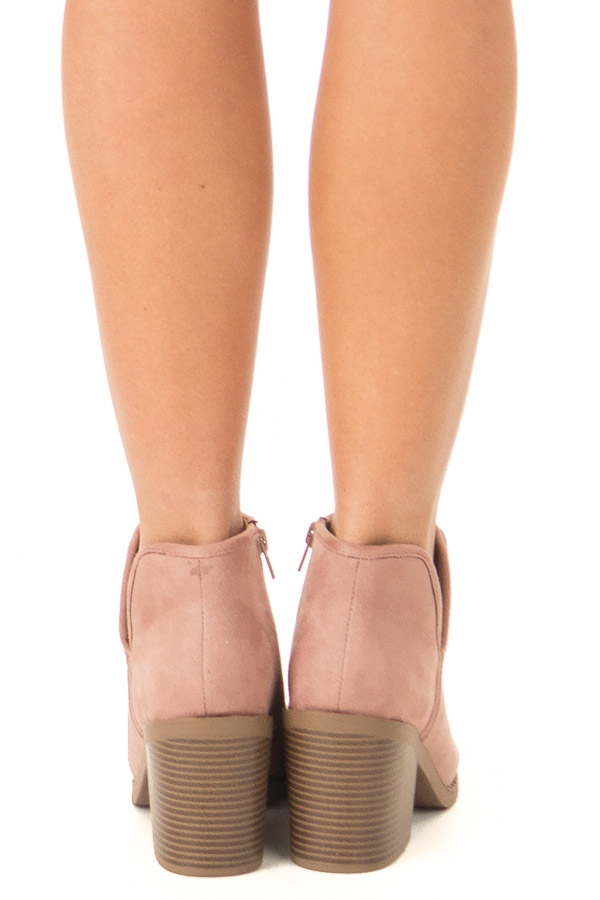 Dusty Blush Faux Suede Heeled Bootie with Zipper back view