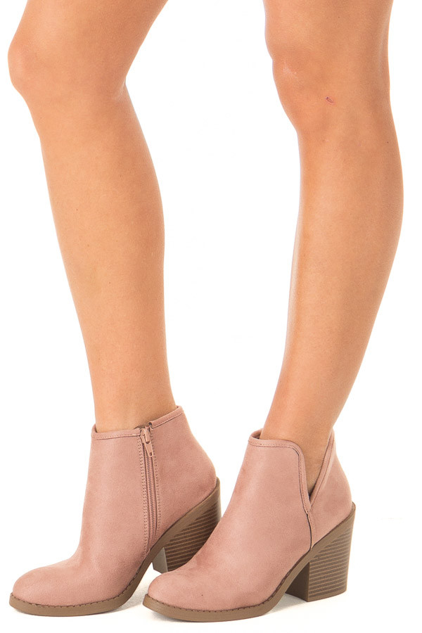 d0b98745a1b Dusty Blush Faux Suede Heeled Bootie with Zipper - Lime Lush Boutique