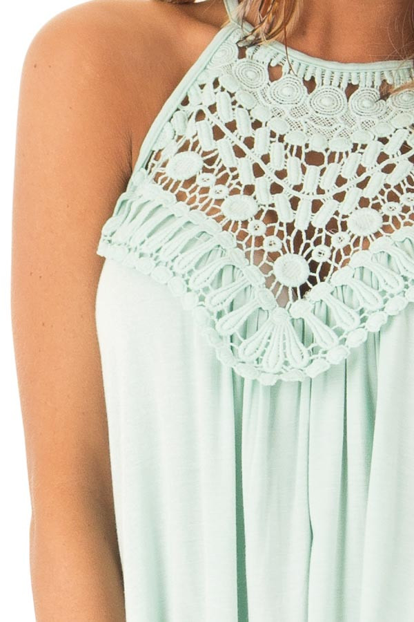 Seafoam Green Tank Top with Sheer Lace Chest detail