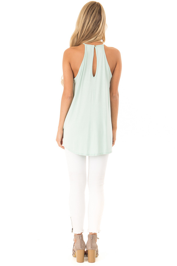 Seafoam Green Tank Top with Sheer Lace Chest back full body