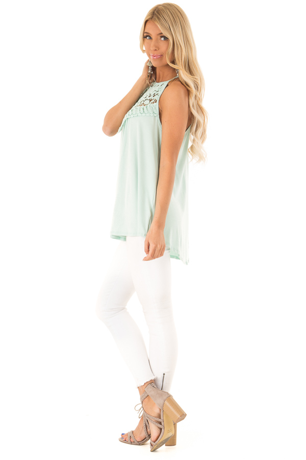 Seafoam Green Tank Top with Sheer Lace Chest side full body