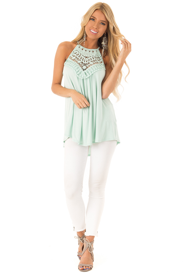 Seafoam Green Tank Top with Sheer Lace Chest front full body