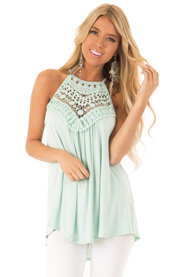Seafoam Green Tank Top with Sheer Lace Chest front close up