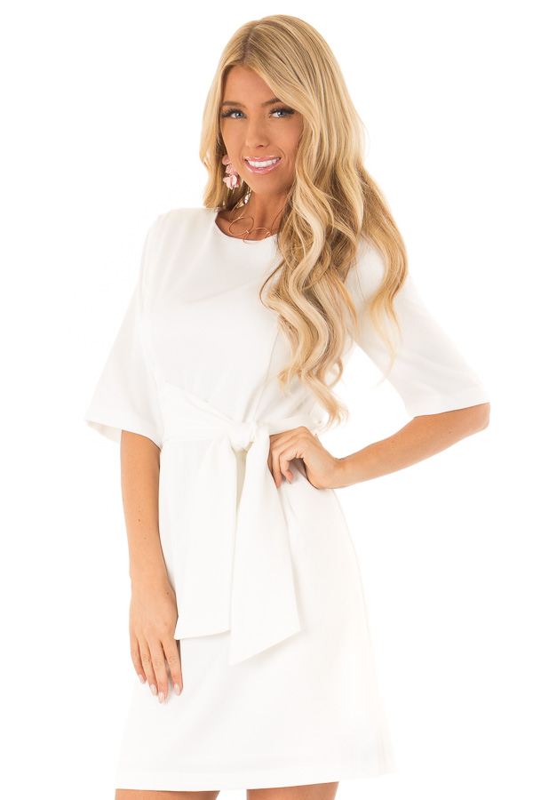 White Short Sleeve Dress with Waist Tie Detail front close up