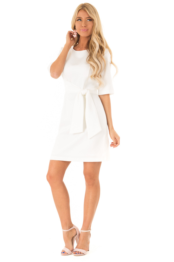 White Short Sleeve Dress with Waist Tie Detail front full body