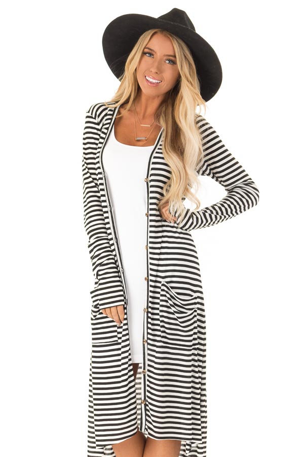 Black and Ivory Striped Long Button Up Cardigan with Pockets front close up