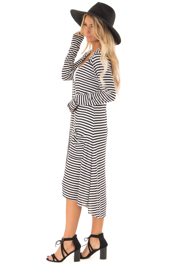 Black and Ivory Striped Long Button Up Cardigan with Pockets side full body