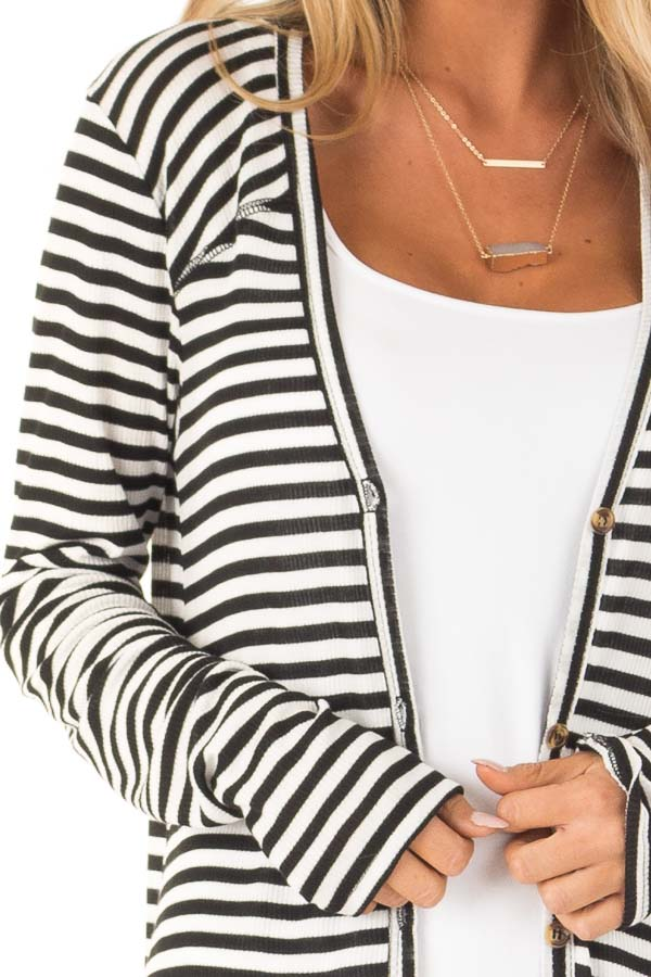 Black and Ivory Striped Long Button Up Cardigan with Pockets detail