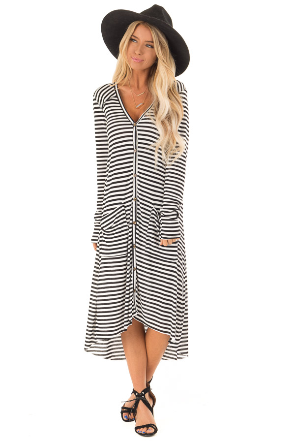Black and Ivory Striped Long Button Up Cardigan with Pockets front full body