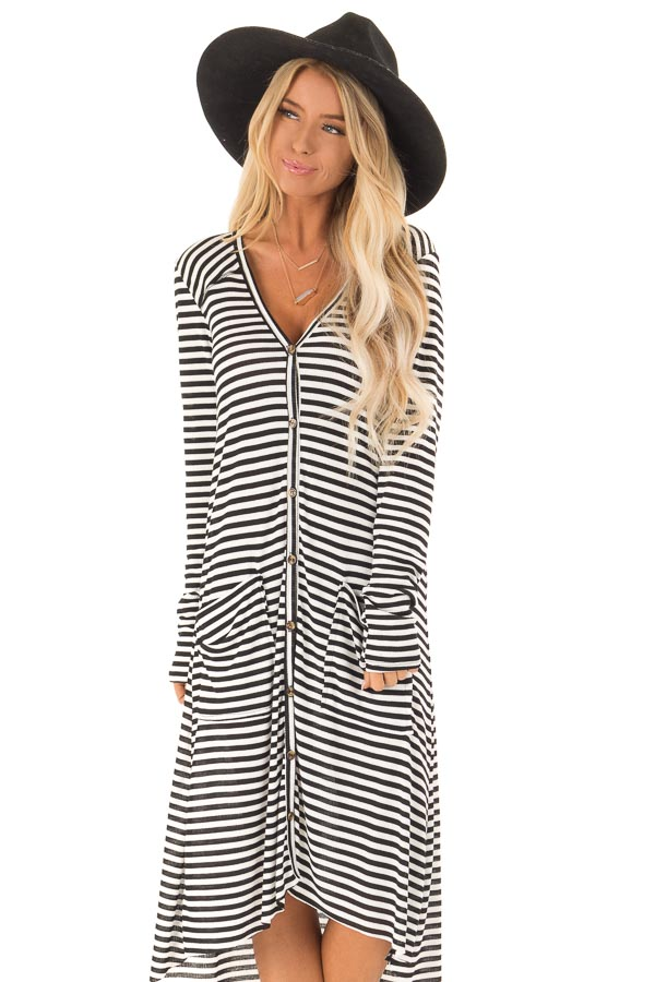 Black and Ivory Striped Long Button Up Cardigan with Pockets front close
