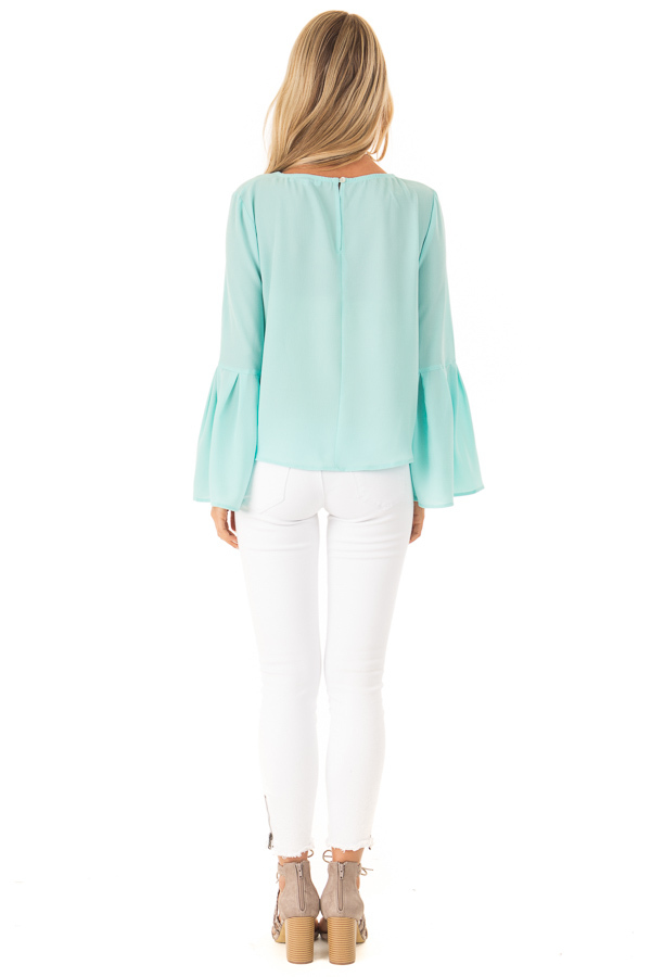 Mint Blouse with Back Keyhole Detail back full body