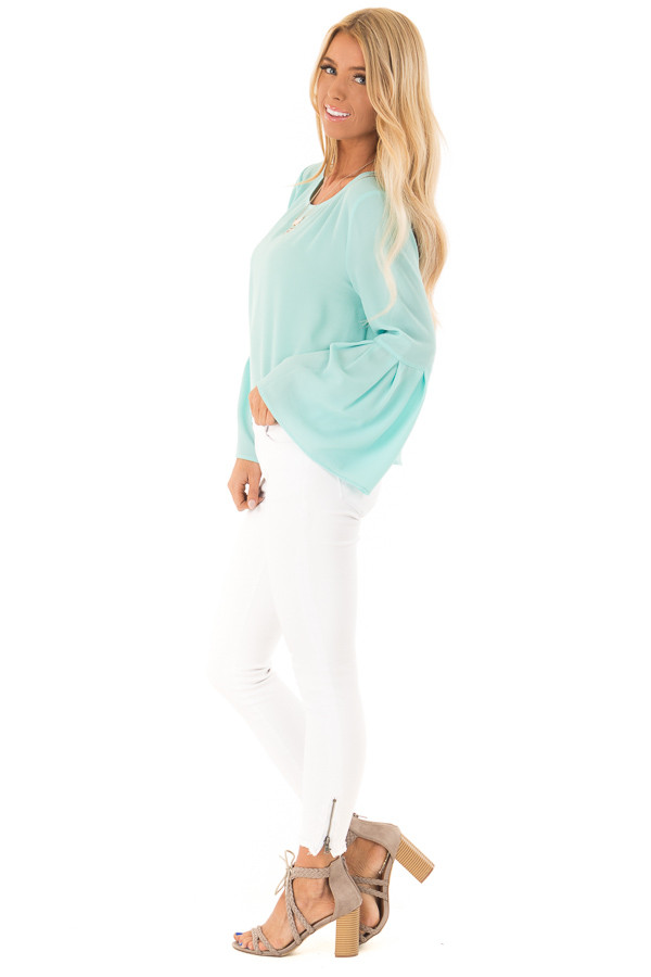 Mint Blouse with Back Keyhole Detail side full body