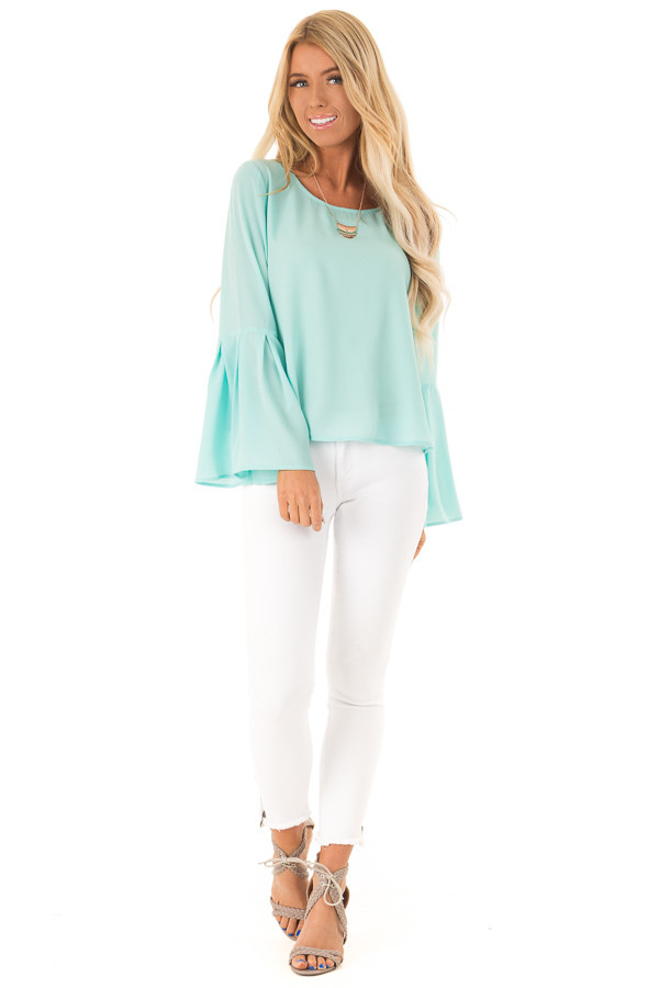 Mint Blouse with Back Keyhole Detail front full body