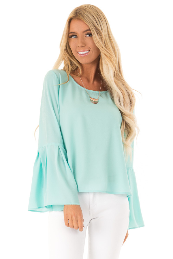 Mint Blouse with Back Keyhole Detail front close up