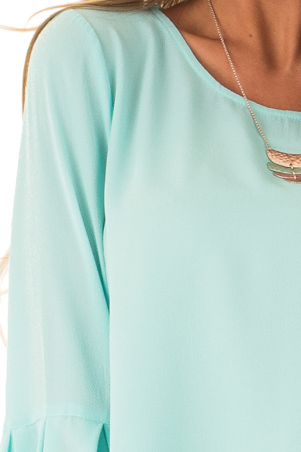 Mint Blouse with Back Keyhole Detail detail