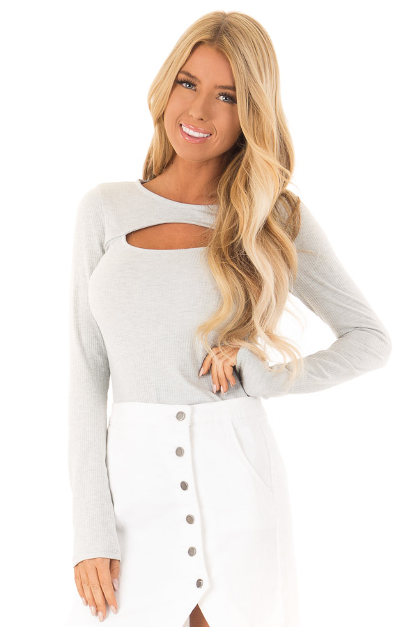 Heather Grey Ribbed Long Sleeve Bodysuit with Chest Cutout front close up 04b6863bc