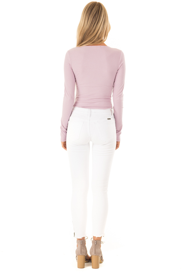Lilac Ribbed Long Sleeve Bodysuit with Chest Cutout back full body