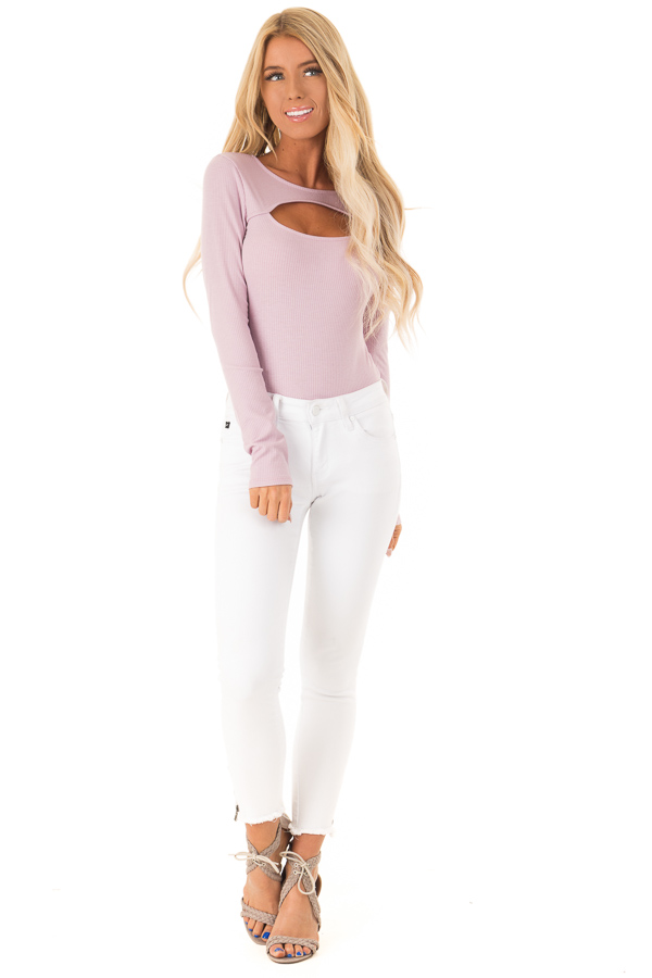 Lilac Ribbed Long Sleeve Bodysuit with Chest Cutout front full body