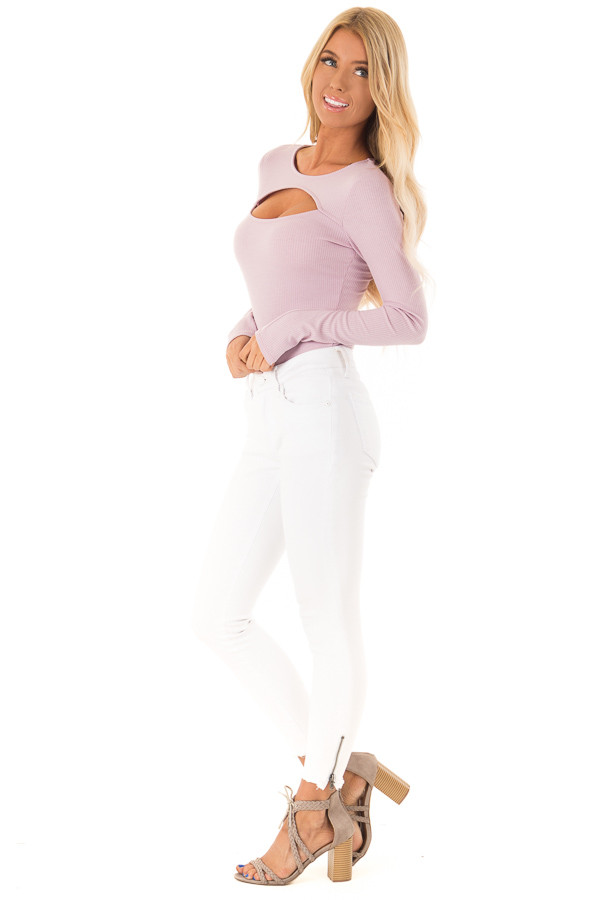 Lilac Ribbed Long Sleeve Bodysuit with Chest Cutout side full body