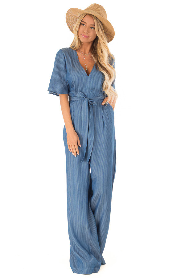 78383967467 ... Navy Pinstripe Jumpsuit with Back Keyhole Detail front full body ...