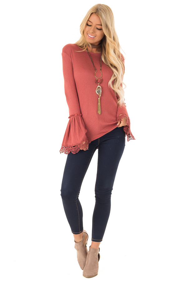 Brick Waffle Knit Top with Long Bell Sleeves and Lace Detail front full body