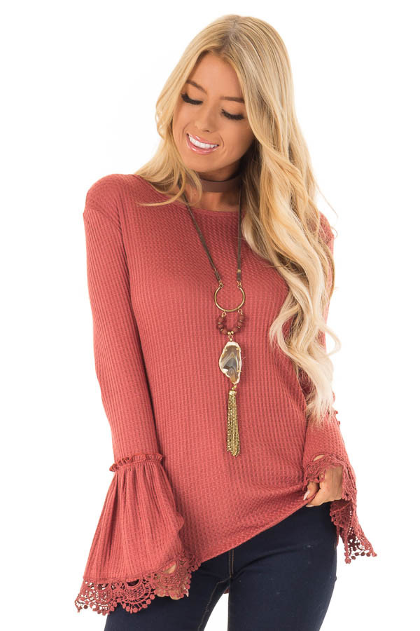 Brick Waffle Knit Top with Long Bell Sleeves and Lace Detail front close up