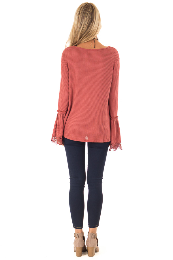 Brick Waffle Knit Top with Long Bell Sleeves and Lace Detail back full body