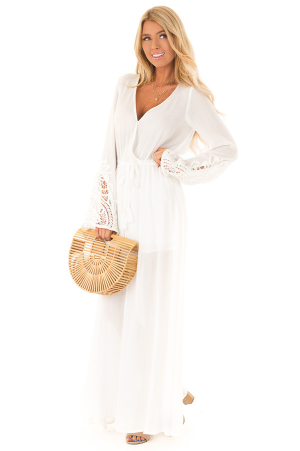 48a3e773361 ... Ivory Embroidered Long Sleeve Romper Dress with Maxi Overlay front full  body ...
