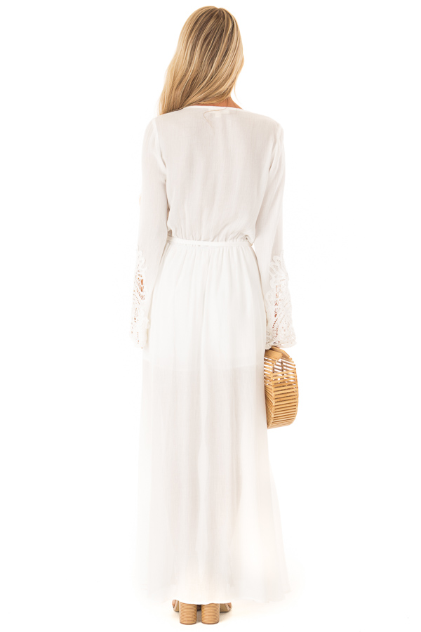 f13d11af3be ... Ivory Embroidered Long Sleeve Romper Dress with Maxi Overlay back full  body ...