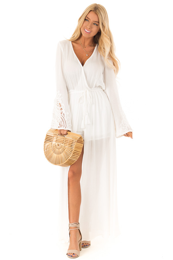 98c9fdb6b73 Ivory Embroidered Long Sleeve Romper Dress with Maxi Overlay front full body