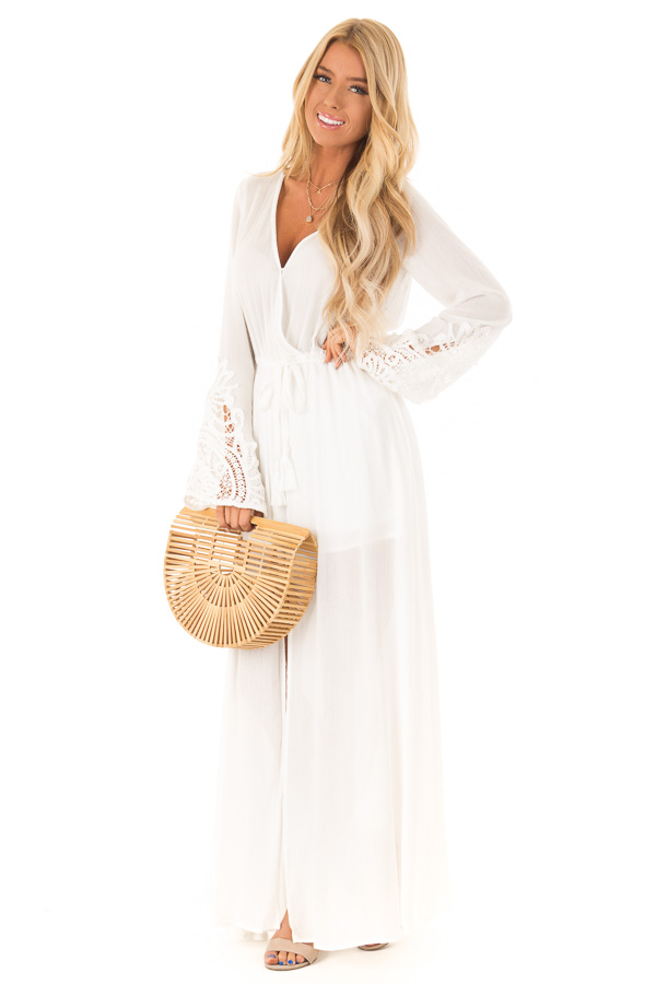 f356b006e76f ... Ivory Embroidered Long Sleeve Romper Dress with Maxi Overlay front full  body ...