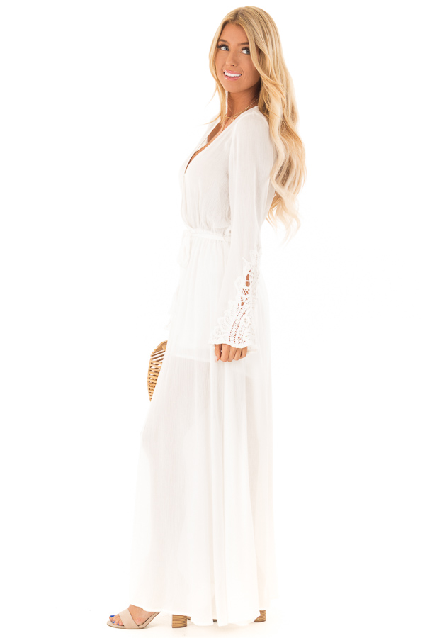 c944d3f5e7e ... Ivory Embroidered Long Sleeve Romper Dress with Maxi Overlay side full  body ...