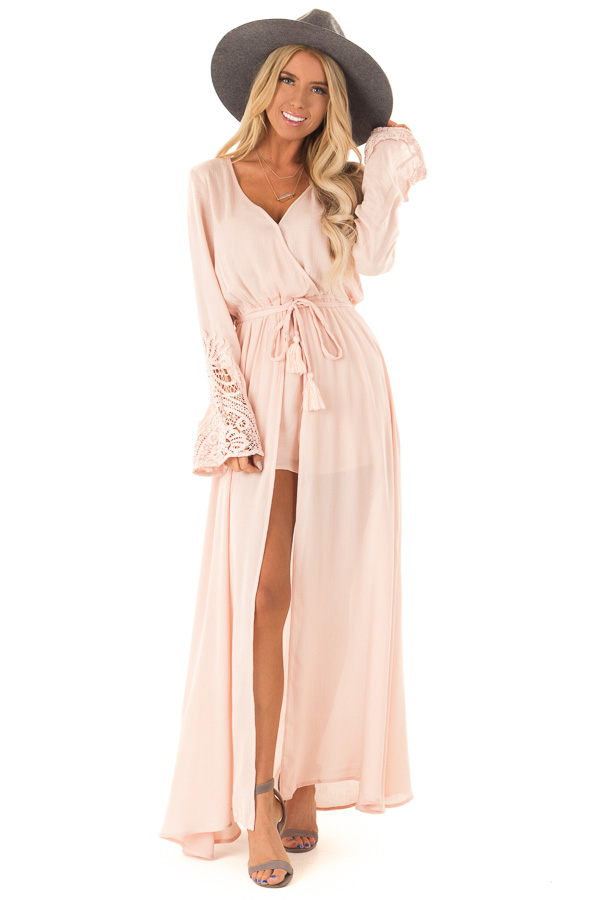 Blush Embroidered Long Sleeve Romper Dress with Maxi Overlay front full body