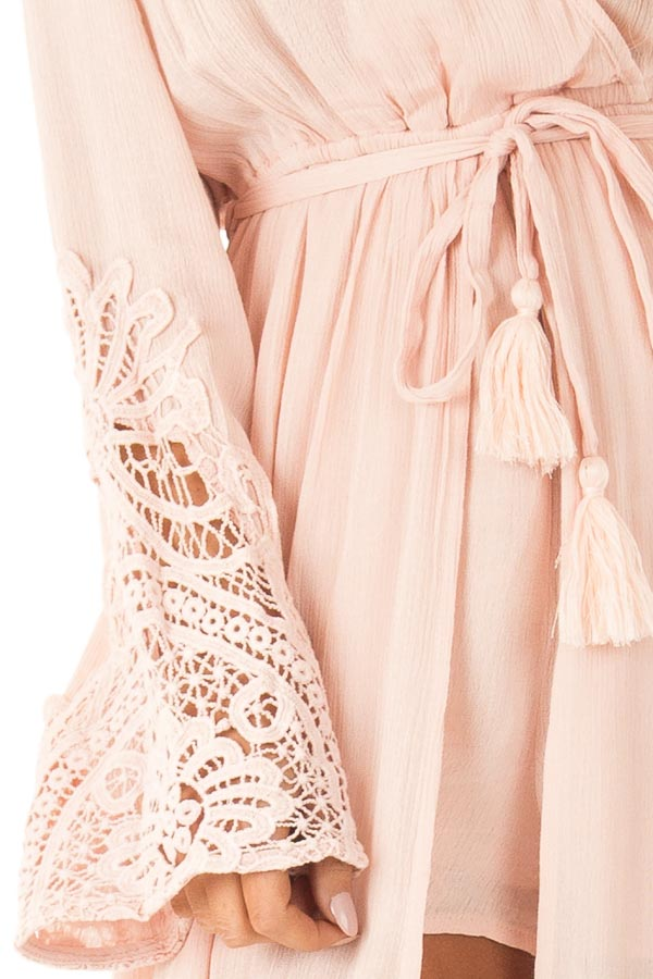 Blush Embroidered Long Sleeve Romper Dress with Maxi Overlay detail