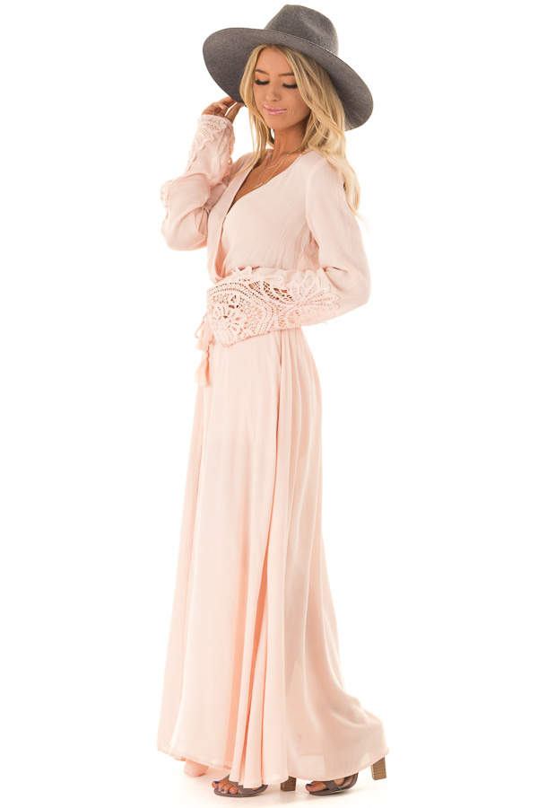 Blush Embroidered Long Sleeve Romper Dress with Maxi Overlay side full body