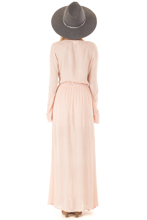 Blush Embroidered Long Sleeve Romper Dress with Maxi Overlay back full body