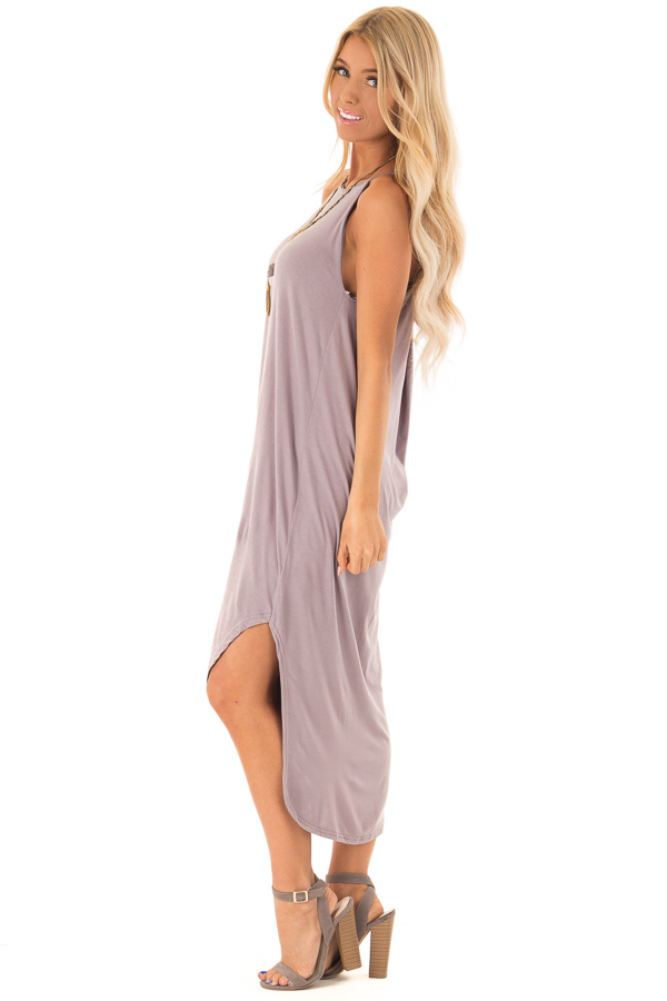 Mauve Comfy Halter Midi Dress with Rounded Hemline side full body