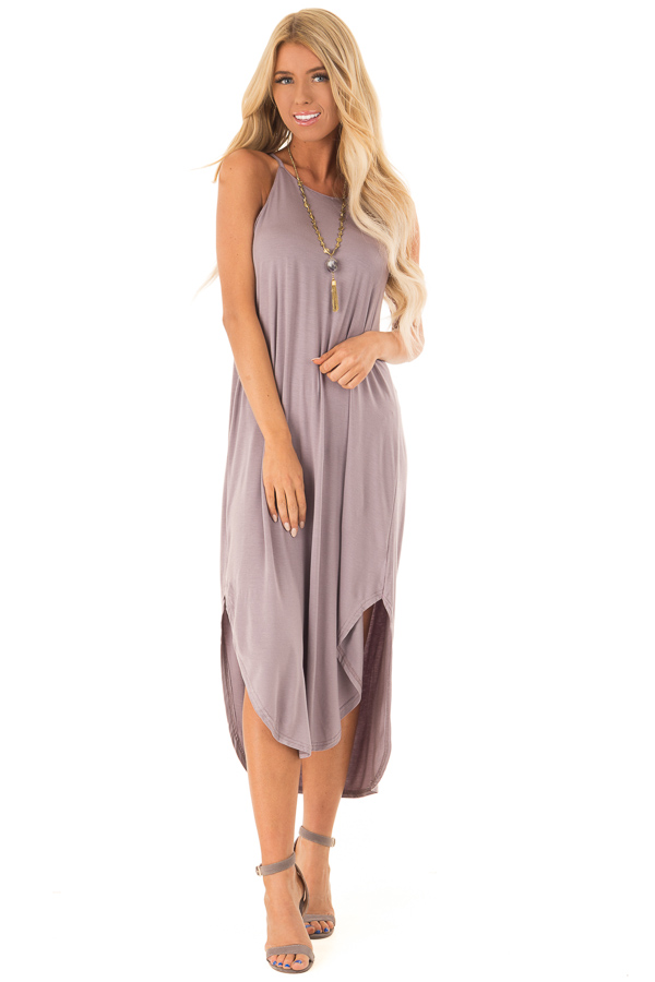 Mauve Comfy Halter Midi Dress with Rounded Hemline front full body
