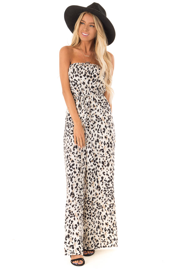 Cream Strapless Leopard Print Jumpsuit with Pockets front full body