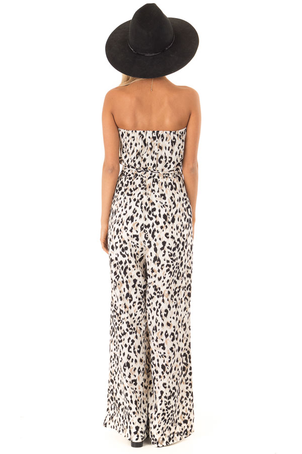 Cream Strapless Leopard Print Jumpsuit with Pockets back full body