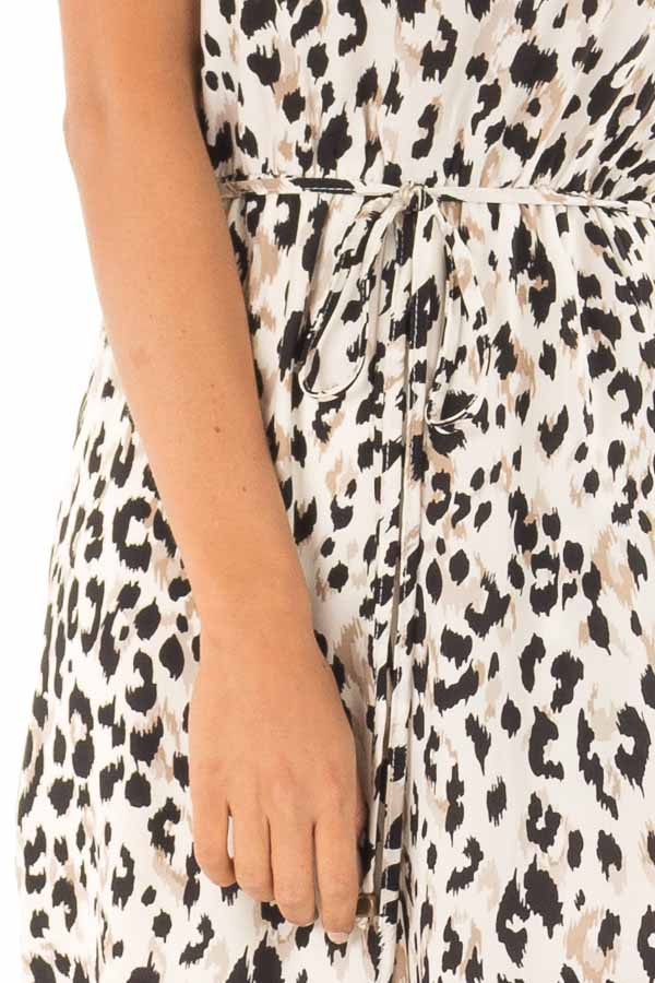 Cream Strapless Leopard Print Jumpsuit with Pockets detail