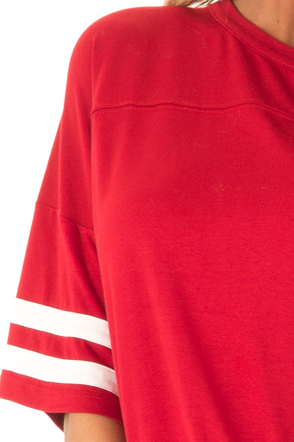 Ruby Red Tee Shirt with White Stripes and Twist Detail detail