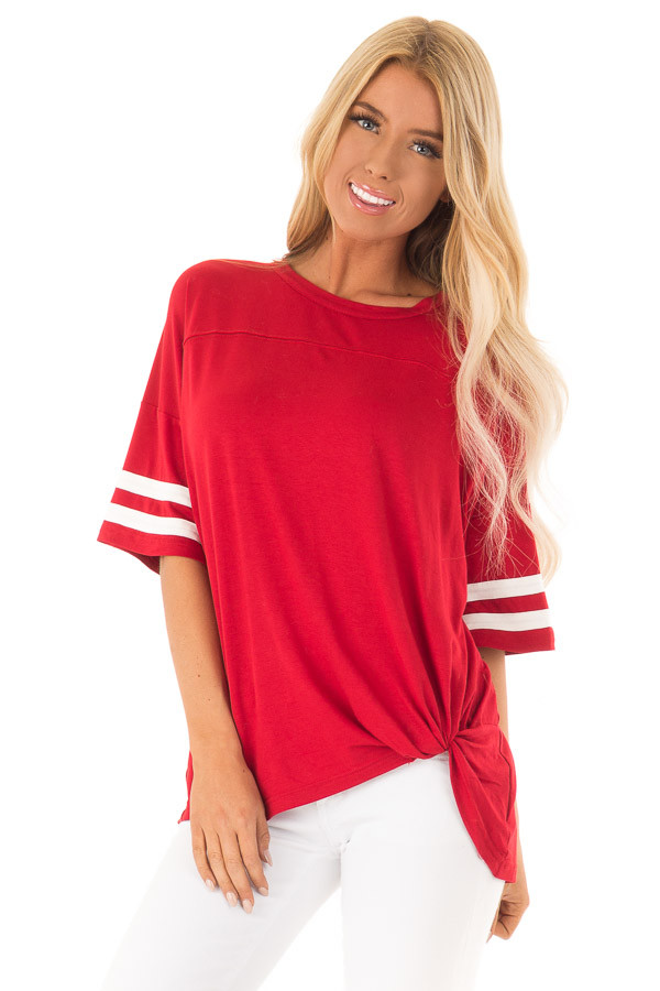 Ruby Red Tee Shirt with White Stripes and Twist Detail front close up