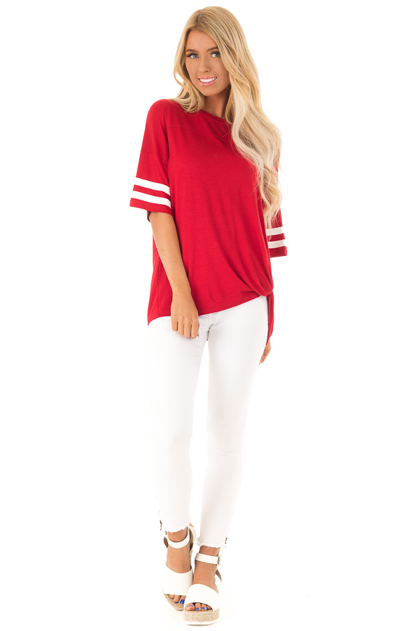 Ruby Red Tee Shirt with White Stripes and Twist Detail front full body